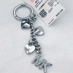 NWT MICHAEL KORS ❤️ Heart Charm ❤️ Silver Key Fob